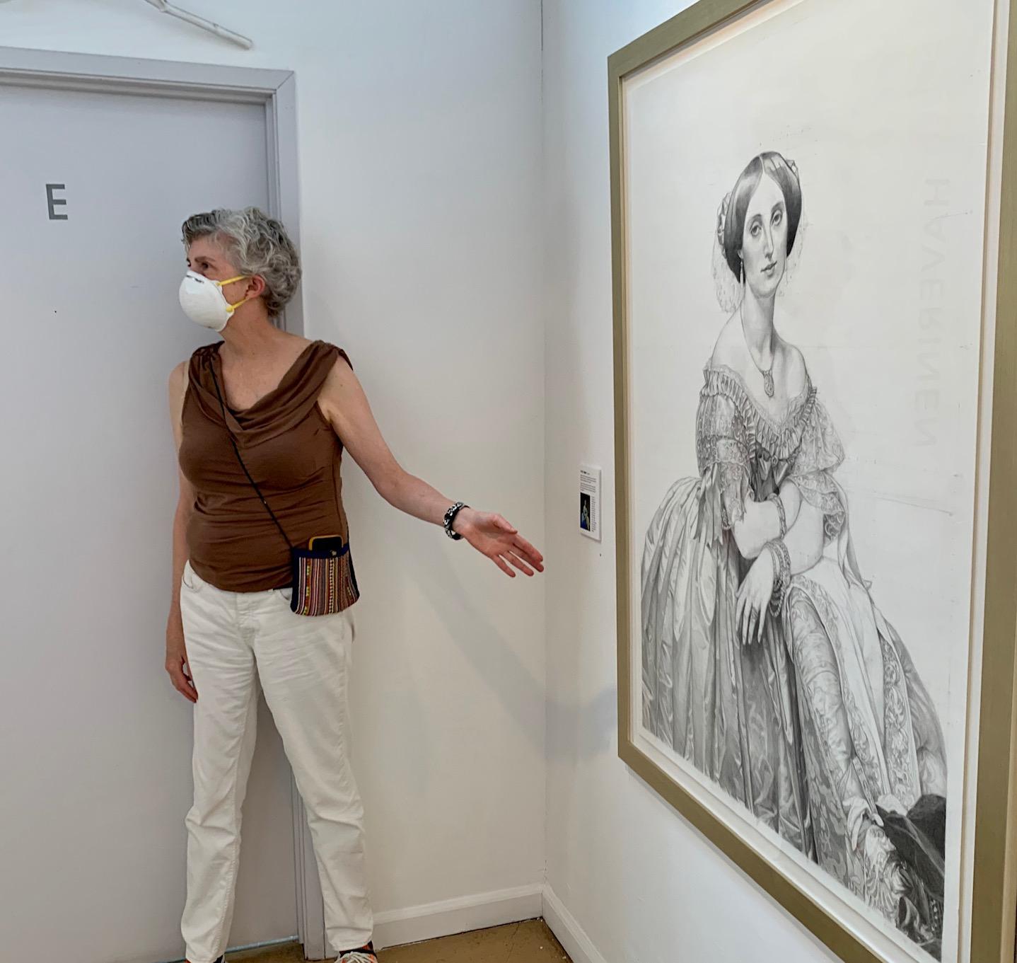 Throop stands in front of her study of Ingres's portrait of Pauline de Broglie